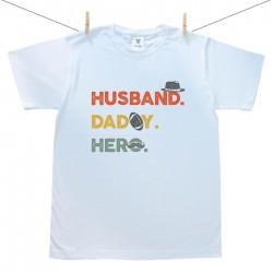 Férfi póló Husband. Daddy. Hero.