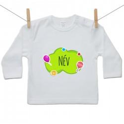 Hosszú ujjú póló Zöld buborék (a baba nevével)