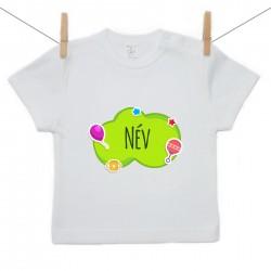 Rövid ujjú póló Zöld buborék (a baba nevével)