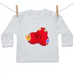 Hosszú ujjú póló Piros buborék (a baba nevével)