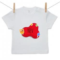 Rövid ujjú póló Piros buborék (a baba nevével)