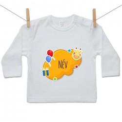 Hosszú ujjú póló Narancs buborék (a baba nevével)