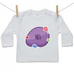 Hosszú ujjú póló Lila buborék (a baba nevével)