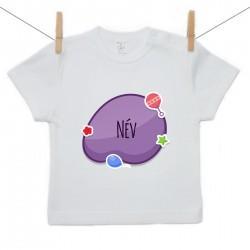 Rövid ujjú póló Lila buborék (a baba nevével)