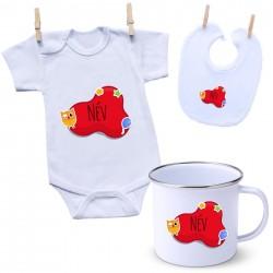 Szett Piros buborék (a baba nevével)