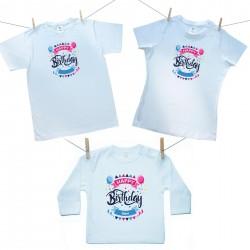 Családi szett (hosszú ujjú póló) Happy birthday (a baba nevével)