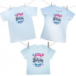 Családi szett (rövid ujjú póló) Happy birthday (a baba nevével)