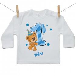 Hosszú ujjú póló Első Szülinap - maci - fiú (saját névvel)