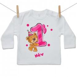 Hosszú ujjú póló Első Szülinap - maci - lány (saját névvel)