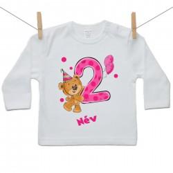 Hosszú ujjú póló Második Szülinap - maci - lány (saját névvel)