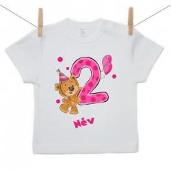 Rövid ujjú póló Második Szülinap - maci - lány (saját névvel)