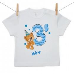 Rövid ujjú póló Harmadik Szülinap - maci - fiú (saját névvel)