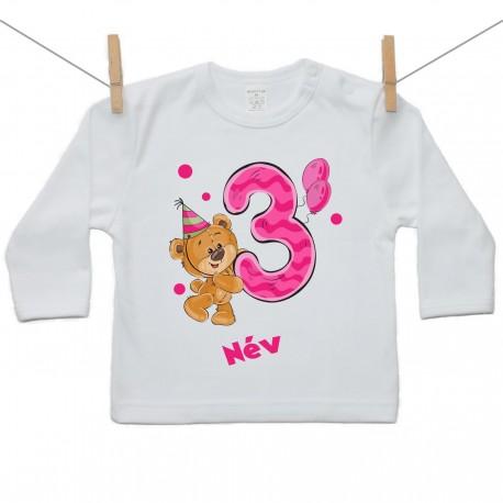 Hosszú ujjú póló Harmadik Szülinap - maci - lány (saját névvel)