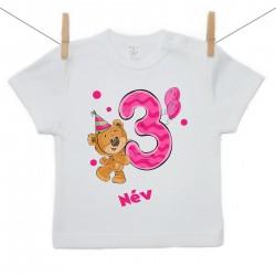 Rövid ujjú póló Harmadik Szülinap - maci - lány (saját névvel)