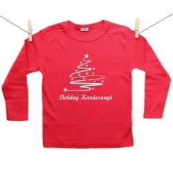 Piros hosszú ujjú póló Boldog Karácsonyt - Karácsonyfa