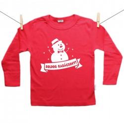 Piros hosszú ujjú póló Boldog Karácsonyt - Hóember