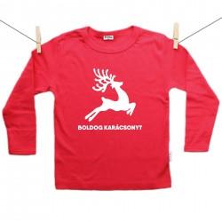 Piros hosszú ujjú póló Boldog Karácsonyt - Rénszarvas