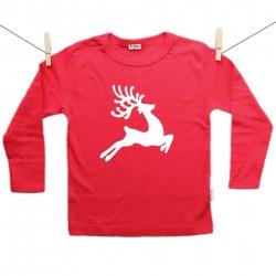 Piros hosszú ujjú póló Rénszarvas