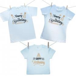 Családi szett (rövid ujjú póló) Happy birthday