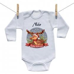 Baba body (Hosszú ujjú) Boldog Karácsonyt (a baba nevével)