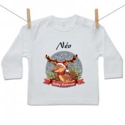 Gyerek póló (Hosszú ujjú) Boldog Karácsonyt (a baba nevével)
