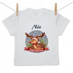 Gyerek póló (Rővid ujjú) Boldog Karácsonyt (a baba nevével)