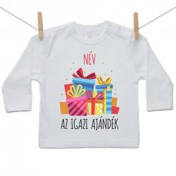 Gyerek póló (Hosszú ujjú) Az igazi ajándék - Lány (a baba nevével)
