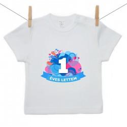 Gyerek póló (Rővid ujjú) 1 éves lettem - kék