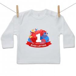 Gyerek póló (Hosszú ujjú) 1 éves lettem - piros