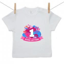 Gyerek póló (Rővid ujjú) 1 éves lettem - lila