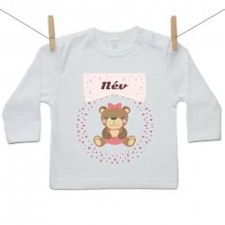 Gyerek póló (Hosszú ujjú) Maci - Lány (a baba nevével)