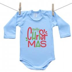 Hosszú ujjú body (kék) Merry Christmas