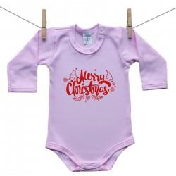 Hosszú ujjú body (rózsaszín) Merry Christmas
