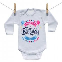 Hosszú ujjú body Happy birthday (a baba nevével)