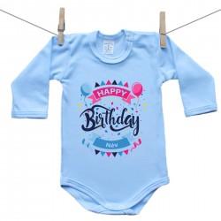 Hosszú ujjú body (kék) Happy birthday (a baba nevével)