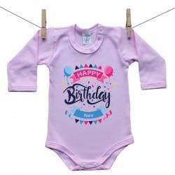 Hosszú ujjú body (rózsaszín) Happy birthday (a baba nevével)