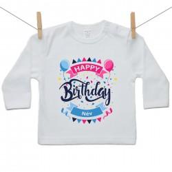 Hosszú ujjú póló Happy birthday (a baba nevével)