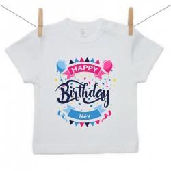 Rövid ujjú póló Happy birthday (a baba nevével)
