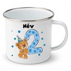 Zománc bögre 2 éves vagyok - fiú (a baba nevével)