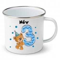 Zománc bögre 3 éves vagyok - fiú (a baba nevével)
