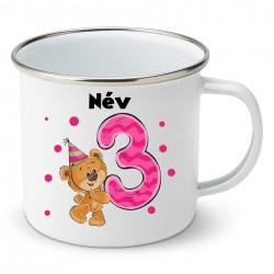 Zománc bögre 3 éves vagyok - lány (a baba nevével)